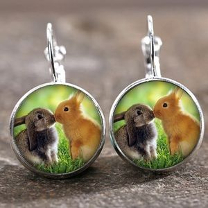 Bunnies Kissing Silver Glass Cabochon Earrings